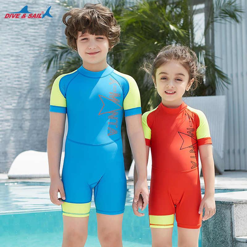 35ff1512a6816 Kids One Piece Surfing UV Protection Swimsuit Diving Bathing Suits Boys  Girls Neoprene Scuba Triathlon Snorkel