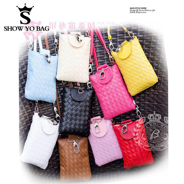 Fashion Design 7 Colors Knit Mobile Phone Bags Chain Cross Body Pouch Travel Camera Totes Woman Free Shipping CHB-011