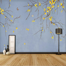 3d wallpaper ginkgo flower bird butterfly background mural home decoration custom photo