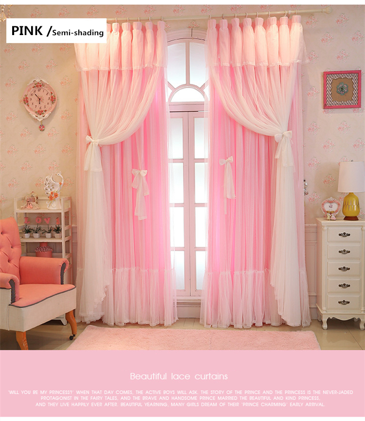 2020 Customize Christmas Semi Full Shading Lace Pink Window Curtain Girl Bedroom Tulle Curtains Wedding Room For Living Room Lc008 From Fair2015 34 64 Dhgate Com