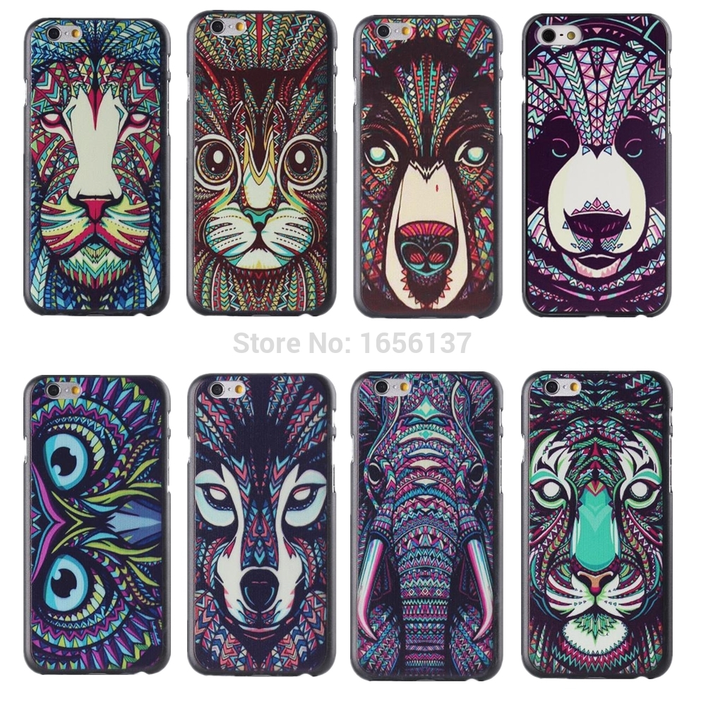 New Fashion Cute Aztec Animal Case Cover For Apple iPhone 6 6S Elephant Tiger Owl Orangutan Bear Kitten Wolf Painted Back Lucky