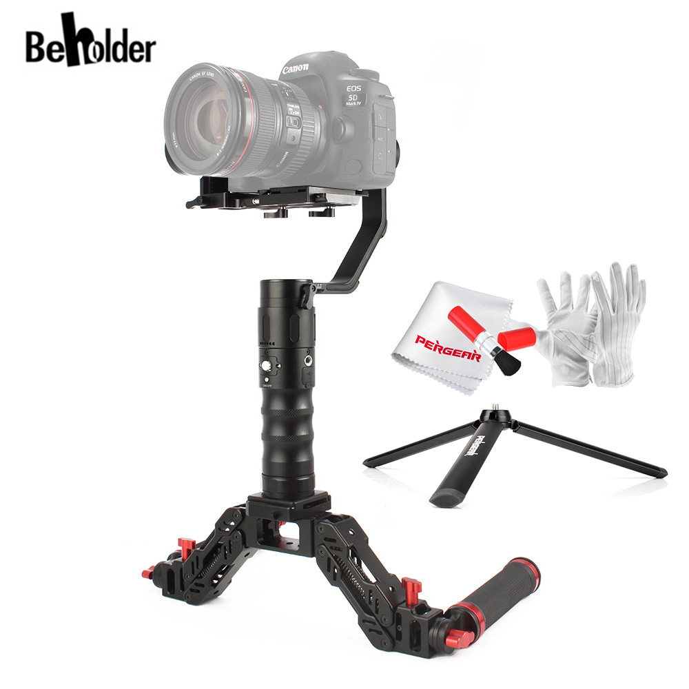 Beholder EC1 3-Axis Handheld Gimbal Stabilizer + Beholder D2S Spring Arm with Handle for EC1 DS1 2000g Playload Screen Display beholder d2 carbon fiber dual handle grip with arch rectangular plate and pergear magic stickers for beholder ds1 ms1 stabilizer