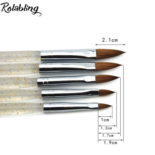 Rolabling Kolinsky Sable 5pcs/SET size 2#/4#/6#/8#/10# acrylic brush black Kolinsky sable acrylic nail brush nail art design