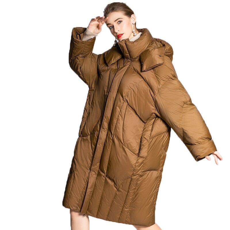 Korean Style Winter Jakcet Plus Size White Duck   Down     Coat   2018 New Long 100kg Can Wear Women Clothes Thicker Warm Parka A620