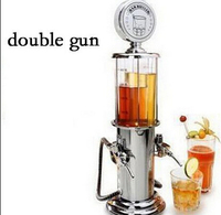 New New Double GUN Silver Liquor Pump Gas Station Beer Alcohol Liquid Water Juice Wine Drink Beverage Dispenser Machine