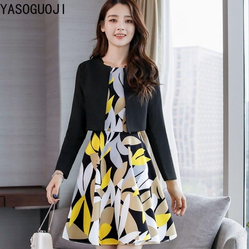 YASUGUOJI nouveau bureau dame mode imprimé robe avec slim court blazer costumes ensemble femmes contraste couleur femmes 2 pièces tenues LTZ27