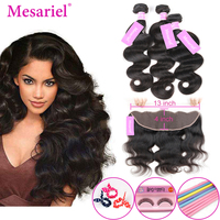 Mesariel Hair 2 3 Bundles With Frontal Closure 13*4 Free Part Brazilian Body Wave Human Hair Frontal With Bundles Non Remy