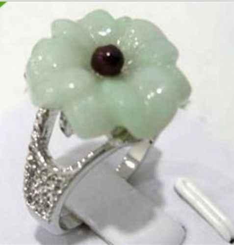 แฟชั่นสีเขียวหยกดอกกุหลาบแหวนผู้หญิงขนาด: 6,7, 8,9 #