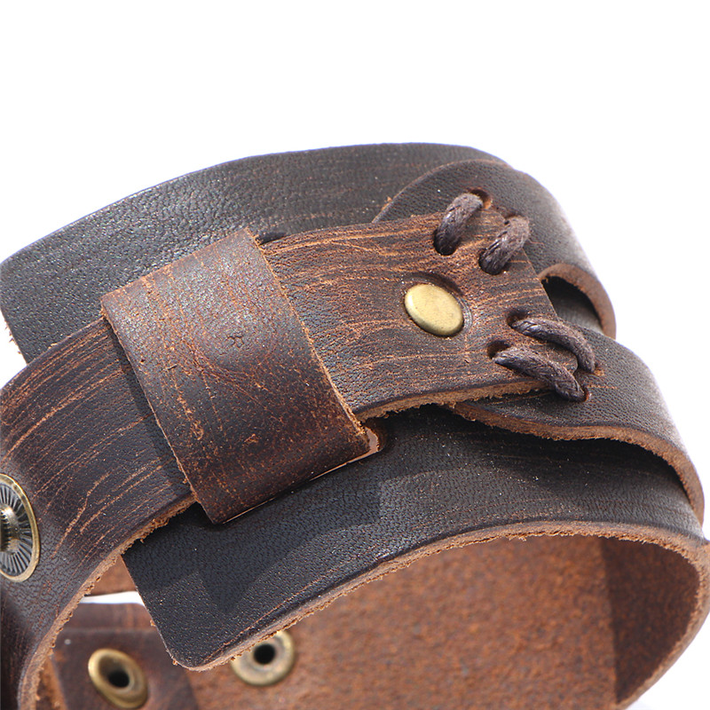 IF YOU Fashion Wide Double Layer Wrap wristband Leather Bracelet Homme Cuir For Men Fashion Casual Rock Cuff Armband Bracelets 6