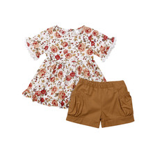 Children Set Cute Princess Suits For Baby Girl Outfits Infant Clothes Floral T-shirt Tops Tutu Skirt Pants Set cute baby girl clothes set 2017 summer cat printed t shirt tops tutu skirt 2pcs princess girls outfits children suit 2 7y