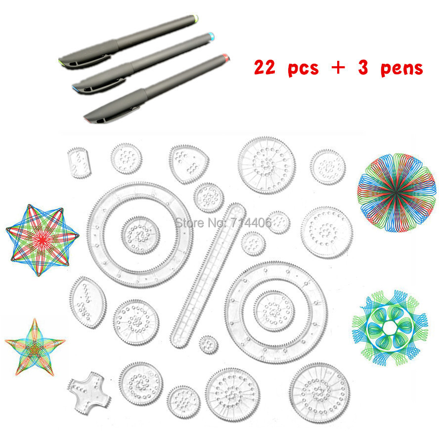 22pcs Accessories 3pcs design pens Spirograph Interlocking Gears Wheels kid s educational classic drawing font b