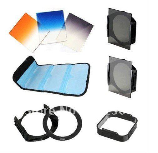 Free shiipping 9pcs Filter Bag +Square Lens hood+Gradual grey blue orange+62mm Adapter Ring+Grey ND2 ND8+Filter Holder 5pcs/lot