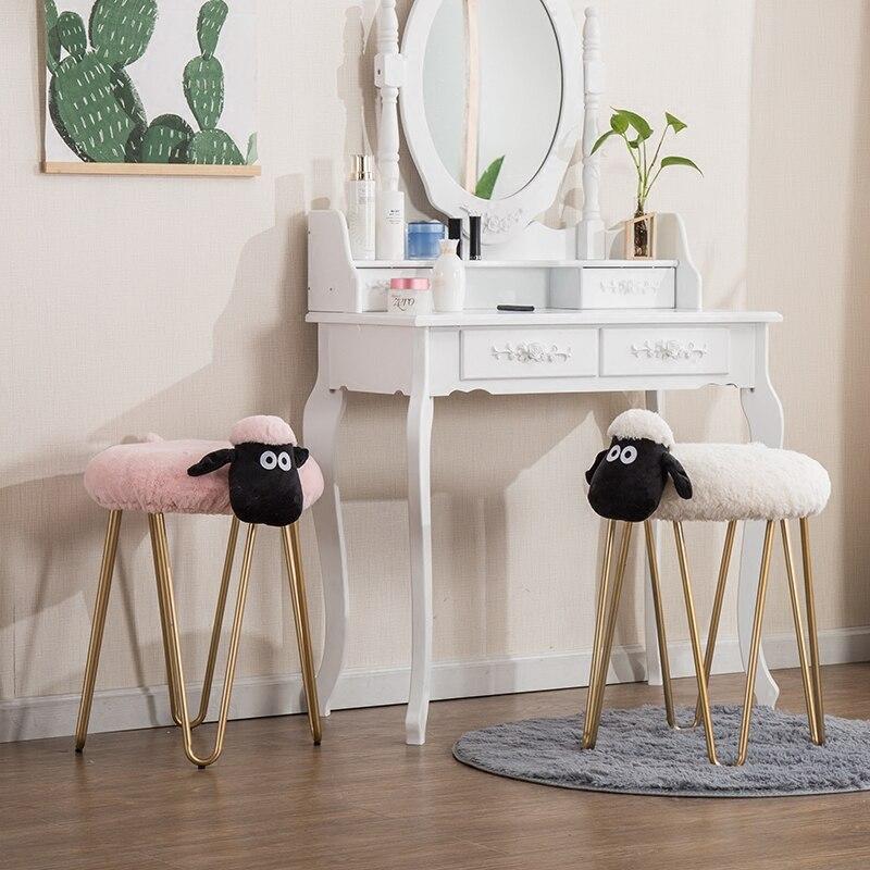 Livraison gratuite U-BEST nouveau design dressing tabouret salon meubles rond pouf métal jambe tabouret
