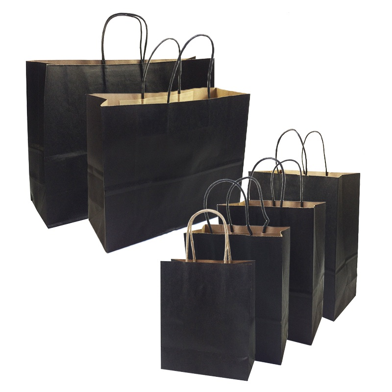 10 Pcs/lot Gift Bags With Handles Multi-function High-end Black Kraft Paper Bags 6 Size For Shops Party Gifts Clothes&shoes