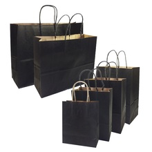 10 Pcs/lot Gift Bags With Handles Multi-function High-end Black kraft Paper 6 Size for Shops Party Gifts Clothes&shoes