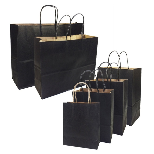 10 Pcs Lot Gift Bags With Handles Multi Function High End Black Kraft Paper 6 Size For S Party Gifts Clothes Shoes In Wring