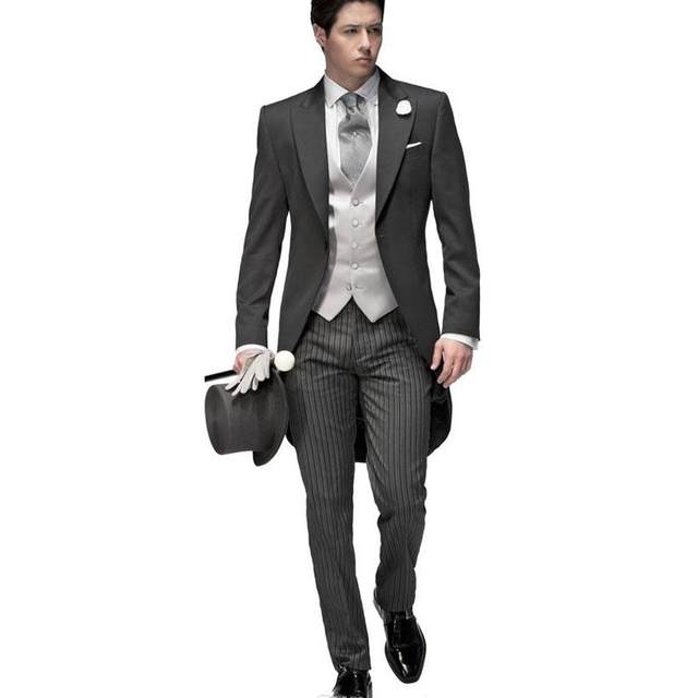 Online Shop 2017 New Tailored Elegant Bridegrom Gray morning suit ...