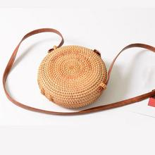 Fashionable Handmade Rattan Straw Woven Bohemia Round Retro Vintage Beach Bag Arc Small Circular Home Storage For Women