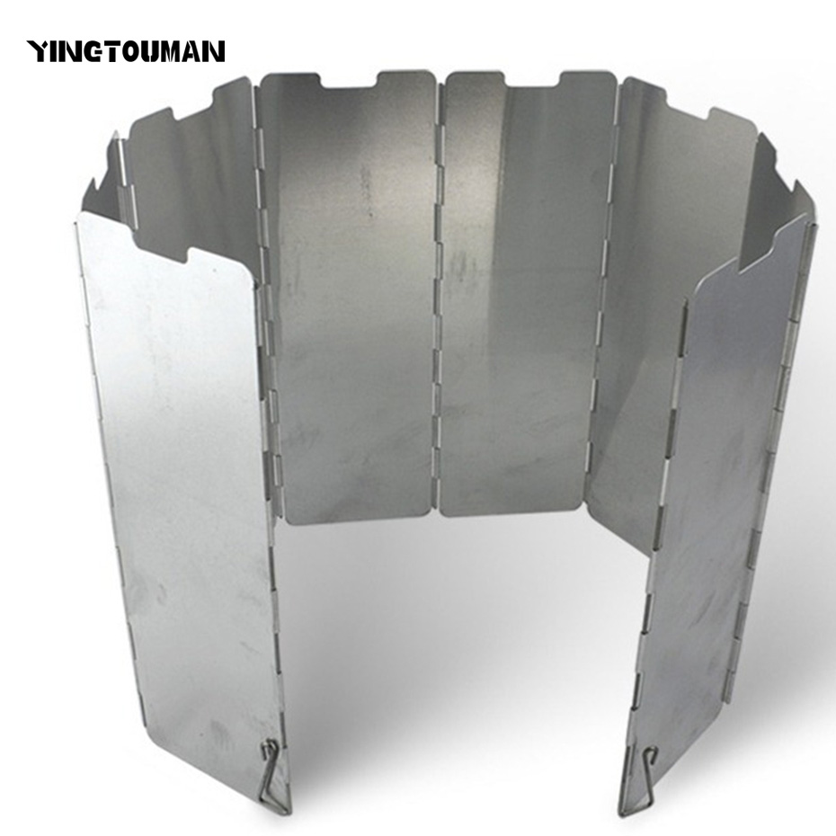 YINGTOUMAN Ultra-light Outdoor Camping Stoves 8 Plates Foldable Cooker Gas Stove Wind Shield Screens Aluminum Windshield