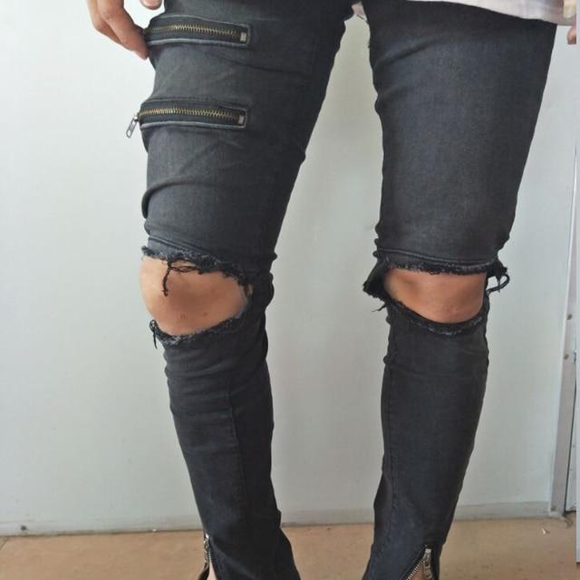 7f5de291b0347 Ripped Jeans Men S Class Fashion Ankle Zipper Design Hi-Street Male  Distressed Skinny Jeans Destroyed Denim Balmai Mens Pants