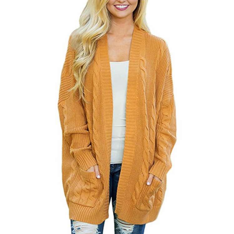 Осенне-зимний модный женский длинный трикотажный свитер кардиган свитер пальто толстый женский комплект одежды для девочек свободный джемпер в Корейском стиле