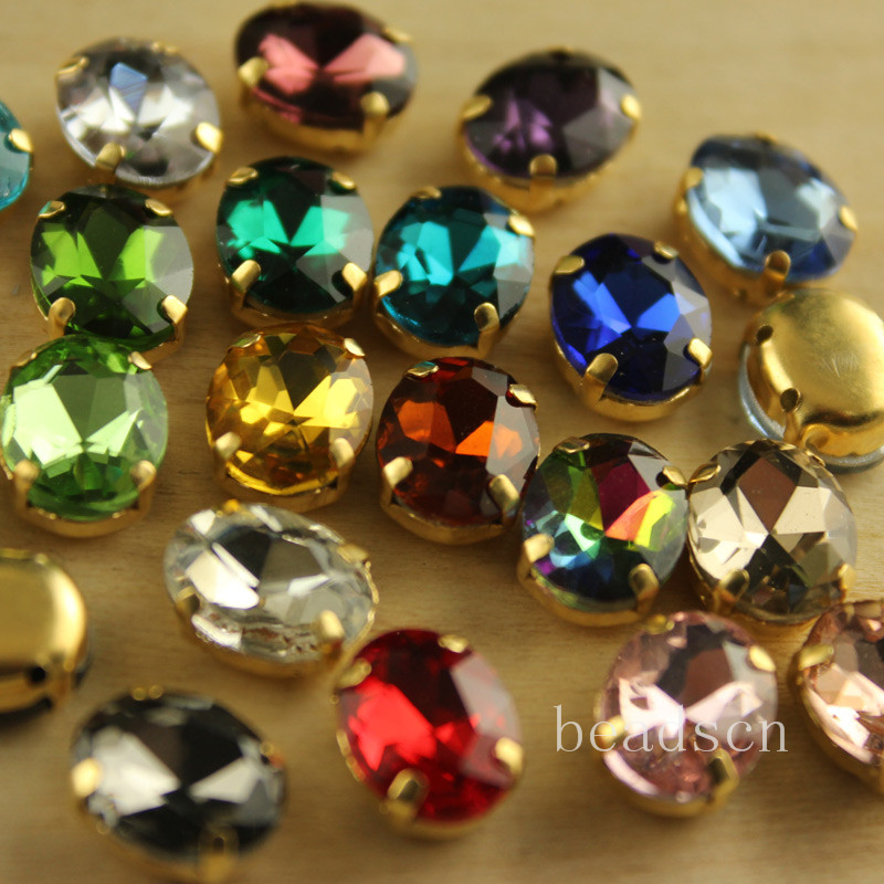 12pcs 8x10mm Oval Sew On  Crystal Rhinestone With Gold Setting Stone Beads For Wedding Cakes Birthday Decorations