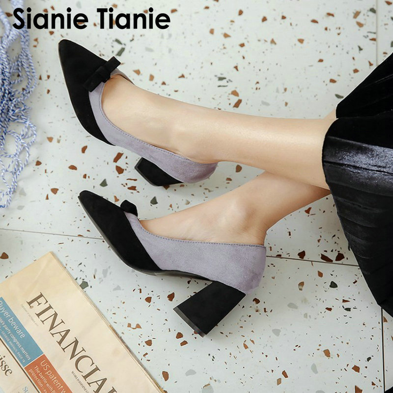 9b0bd160cb8 Sianie Tianie 2019 new purple violet color sweet women office pumps pointed  toe block high heels shallow single shoes stilettos