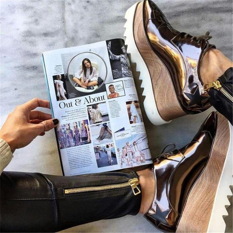 반짝 이는 다섯개 별 플랫 플랫폼 여성 신발 광장 발가락 레이스 가죽 두꺼운 바닥 로퍼 캐주얼 신발 여성 무료 배송-에서여성용 플랫부터 신발 의  그룹 1