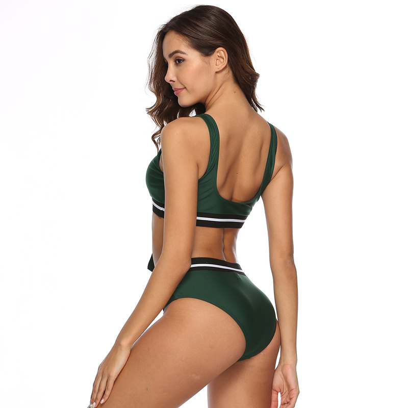 Bathing Suits for Women Bikini 2019 Mid Waist Wire Free Thong Bikini Swimwear Women Solid Brazilian Two Piece Fashion Swimsuit in Bikinis Set from Sports Entertainment