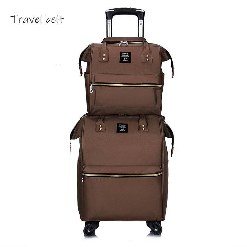 100% Wahr Reise Gürtel 20 Zoll Oxford Roll Gepäck Set Spinner Frauen Marke Koffer Räder Männer Business Tragen Auf Reisetaschen
