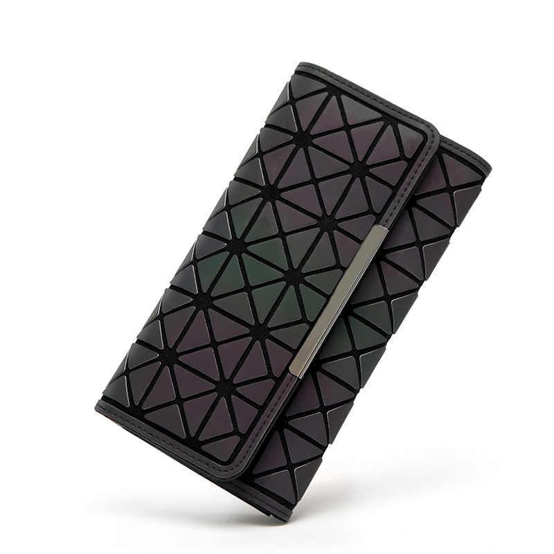2018 noctilucent mulheres carteiras bolsa geometria luminosa senhoras embreagem saco do telefone feminino zipperwallet titular do cartão