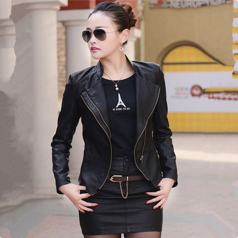 Hot 2018 Autumn Women Leather Jacket Slim Plus Size Motorcycle PU Leather Jacket Coat Zipper Casual