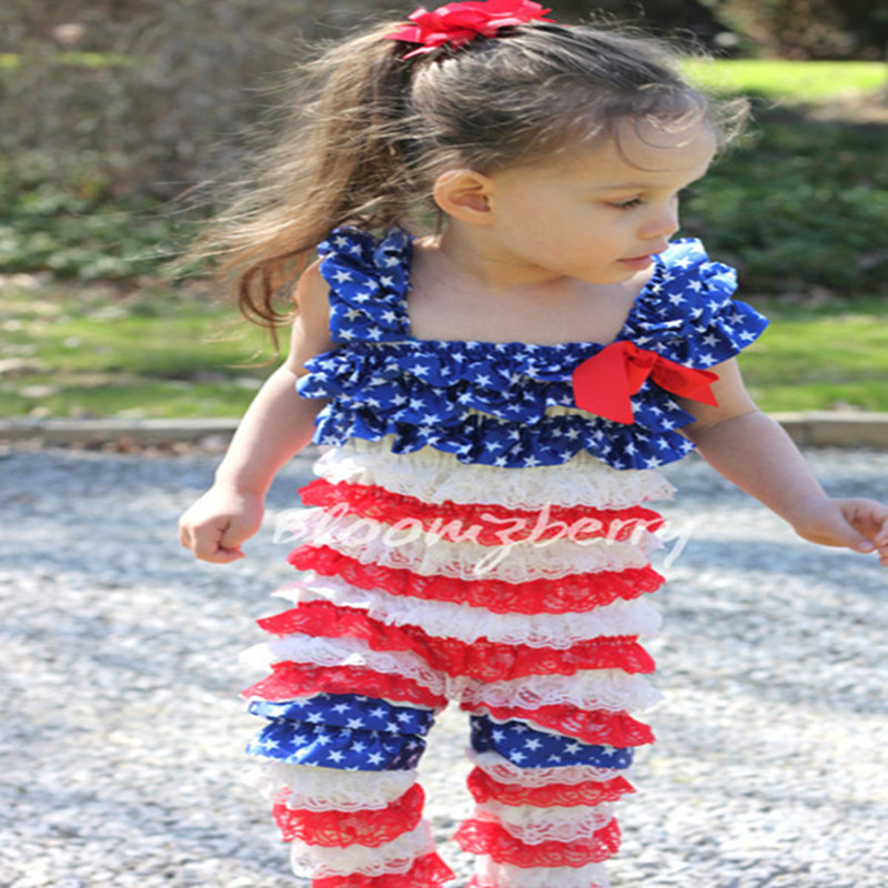 Newborn Baby Girls Fourth Of July Lace Petti Rompers With Matching Leg Warmer Infant Girls Patriotic