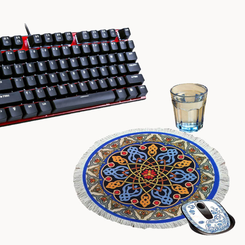 Simulation round Persian carpet mouse pad laptop mat game speed version desk decoration gift 240X240MM cup mat