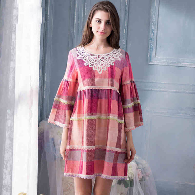 2017 Real Rushed Nightdress Pure Cotton Sleepwear 100% Woven Sleep Lounge Lace Round Neck Pijama Leisure Nightgowns Yc15071