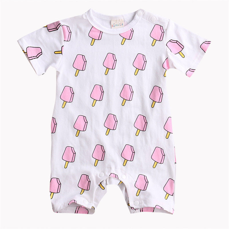 2017 Summer Newborn Infant Baby Girl Ice Cream Print Romper Jumpsuit Short Sleeve Outfits Sunsuit Clothes Toddler Girl Clothing cotton i must go print newborn infant baby boys clothes summer short sleeve rompers jumpsuit baby romper clothing outfits set