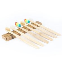 1pc Eco-friendly Bamboo Toothbrush Wooden Charcoal Rainbow Tooth Brush Oral Care Teeth Soft Bristle teeth brush(China)