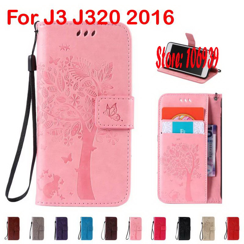 Tree Star Leaf Cat Butterfly PU Leather Flip Clamshell Wallet Case caso For Samsung Galaxy J3