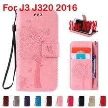 Дерево звезда листьев Cat бабочка PU кожа флип раскладушка бумажник чехол Caso для Samsung Galaxy J3 J320 2016 J320F J 3 320 красный, розовый