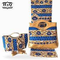 African Design Woman's Wax Bags High Quality 2019 Two Wax Handbag Matching 6 Yards African Prints Wax Cotton Fabric Wax Ankara