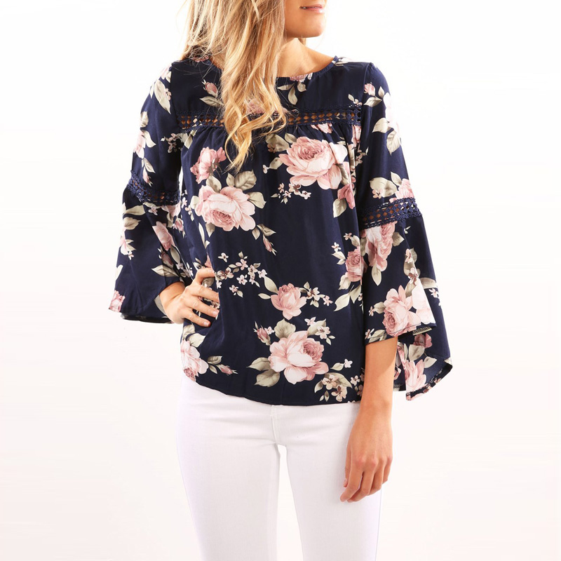Fashion Women blouse Casual Lady loose Floral Pattern Flare Sleeve Round Neck Tops