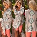 Женская мода Печатных Нерегулярные Хем Кардиган Свитер Осень Зима Пальто Пожимания Плечами Куртки Ponchoh Мыс Случайные Свободные Длинные Блузка Топы