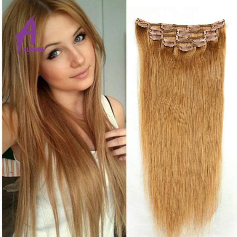 Brazilian Remy Clip In Hair Extensions 27 Honey Blonde 7a