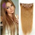 Clip Remy brasileño En Extensiones de Cabello #27 blonde de miel 7A grado del pelo humano Recto Sedoso 7 unids/set 70g para las mujeres blancas