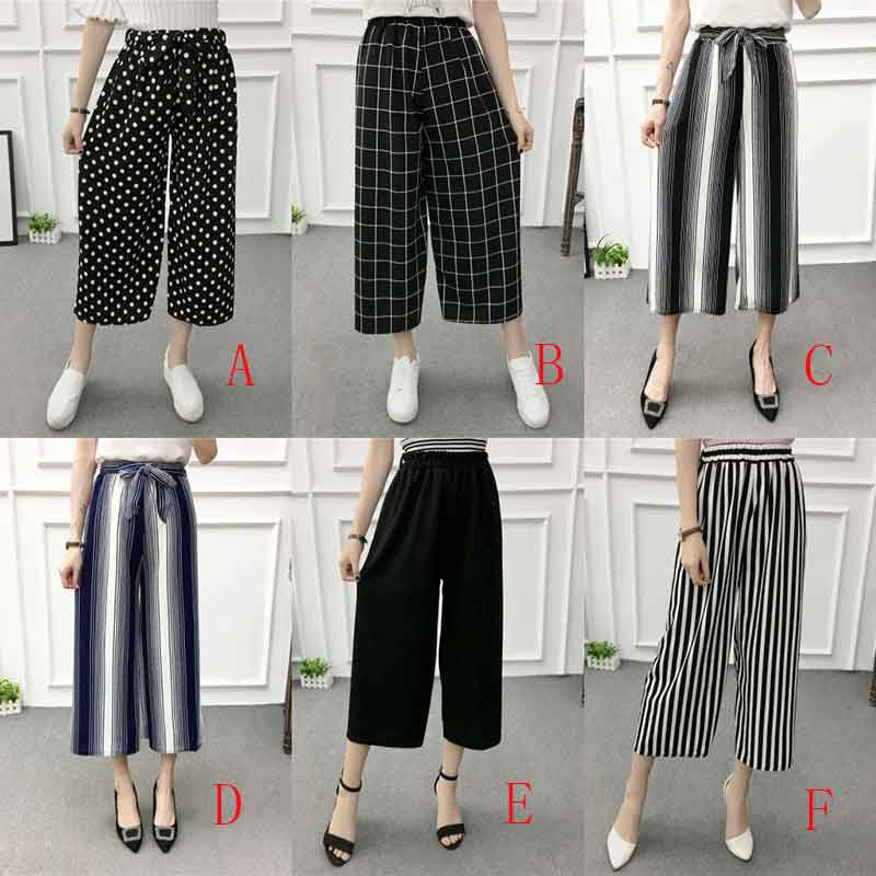 ETOSELL Women New Summer Wide Leg Pants Casual Loose High Elastic Waist Harem Pants Loose Belt Striped Elasticated Trousers 4