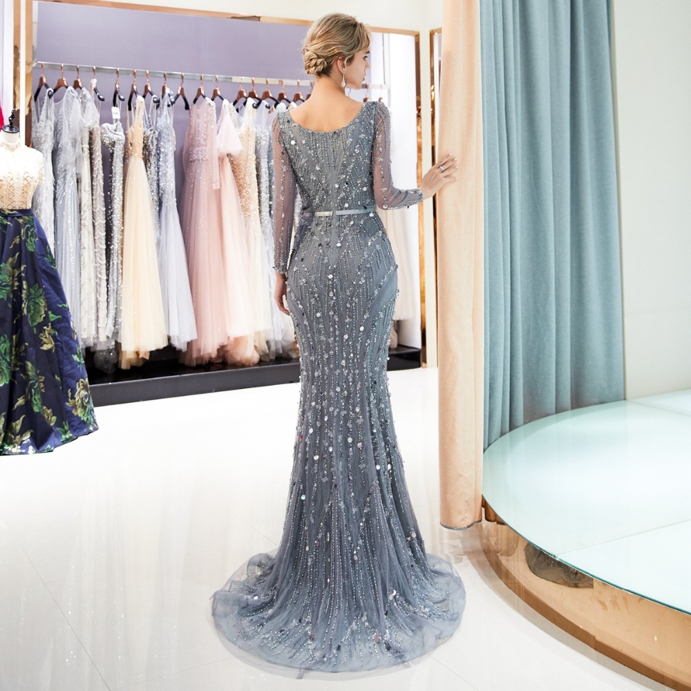 Walk Beside You Gray Long Evening Dresses Mermaid Long Sleeves Beaded Sequined Bling Shiny Prom Gowns Vestidos Formales Para