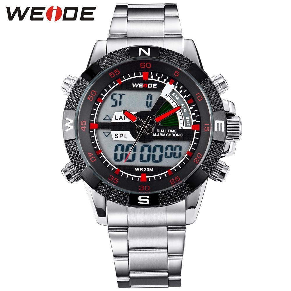 WEIDE Famous Brand Sport Complete Calendar Men Watches 3ATM Water Resistant Stainless Steel Back Quartz Movement Original Gift weide brand irregular man sport watches water resistance quartz analog digital display stainless steel running watches for men