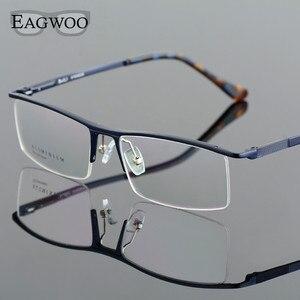 Image 2 - Oprawki optyczne ze stopu aluminium pół obręczy receptę mężczyźni prostokątne zielone okulary biznes sportowe spektakl 823022