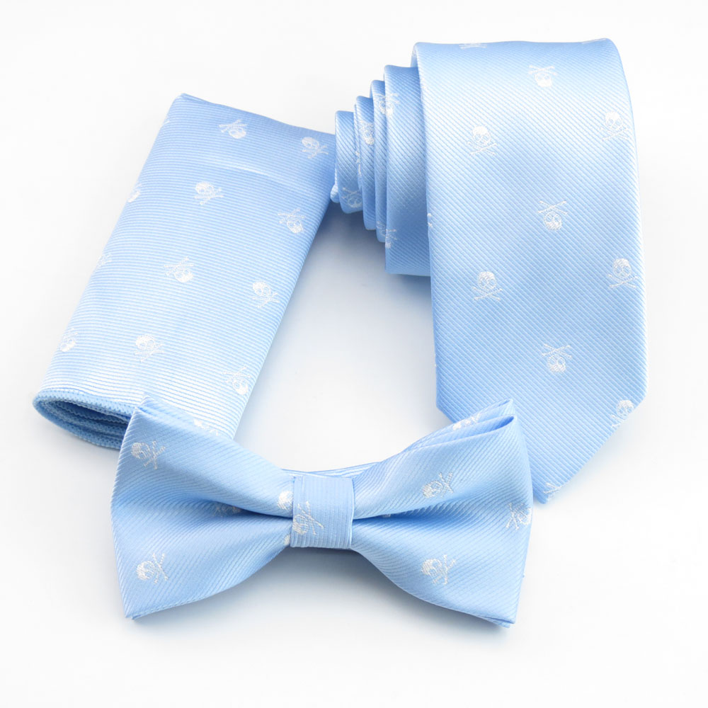 Light blue ties male bright silver skull necktie man narrow tie men's fashion tie matching gravata bowtie and pocket square