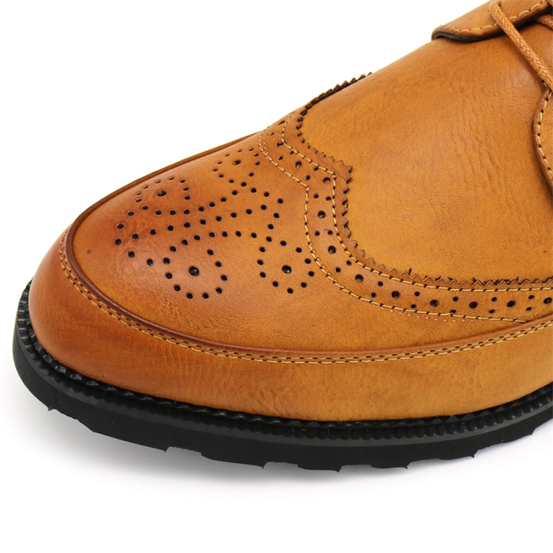 Marque 48 38 Robe Soirée Formelle Chaussures Luxe Bureau Hommes Caoutchouc De Mariage Noir Brown bleu yellow Oxfords Brogue En Cuir Britanniques gris Semelle rTFrw